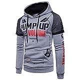 ZIYOU Herren Pullover mit Kapuze, Sport Kapuzenpullover/Männer Outwear Sweatshirt Jungen Hoodie Streetwear(2XL,Grau)