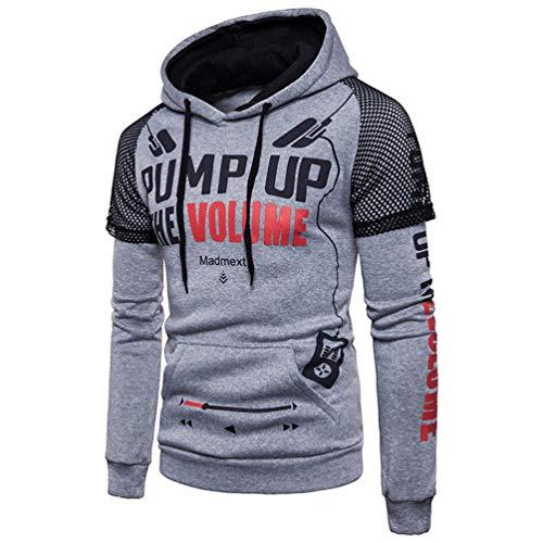 ZIYOU Herren Pullover mit Kapuze, Sport Kapuzenpullover/Männer Outwear Sweatshirt Jungen Hoodie Streetwear(M,Grau)