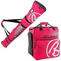 Brubaker Conjunto \'Super Champion 2.0\' Bolsa para Botas y Casco de ski Junto a \'Carver Champion 2.0\' Bolsa para un par de Ski - Rosa/Blanco - 170 cms.