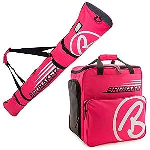 Brubaker Kombi Set Champion – Limited Edition – Skisack und Skischuhtasche für 1 Paar Ski 170 cm oder 190 cm + Stöcke + Schuhe + Helm Pink Weiss