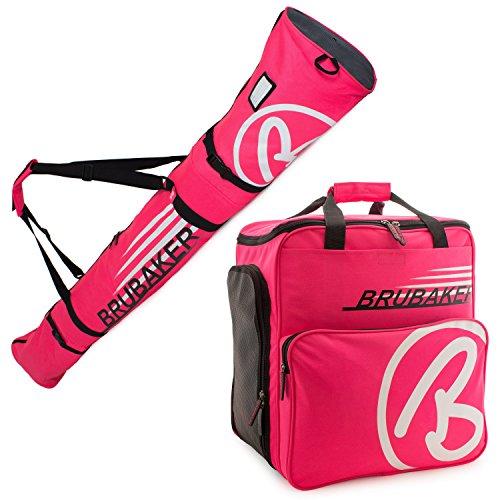 BRUBAKER Kombi Set CHAMPION - Limited Edition - Skisack und Skischuhtasche für 1 Paar Ski bis 170 cm + Stöcke + Schuhe + Helm Pink Weiss