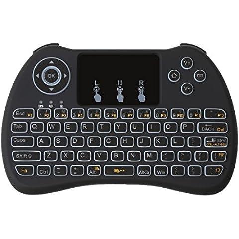 [actualización versión], IDEAPRO 2,4G Mini Teclado Inalámbrico Multimedia portátil de mano touchpad Android Teclado retroiluminado con ratón derecho y izquierda botón para PC/Pad/Xbox 360/PS3/Google Android TV Box/HTPC/IPTV