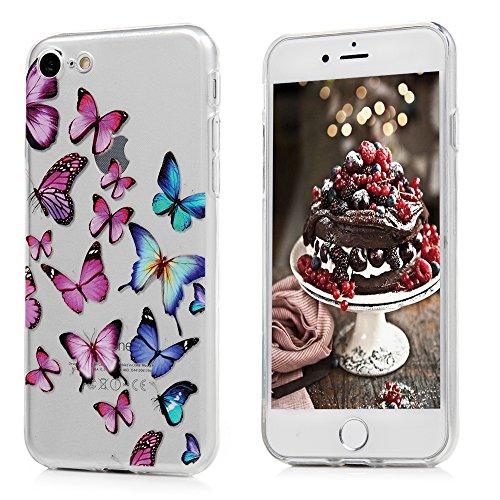 MAXFE.CO Schutzhülle Tasche Case für iPhone 6 Plus/6S Plus TPU Silikon Cover mit Diamanten Etui Protective Schale Bumper Knallblau Schmetterling