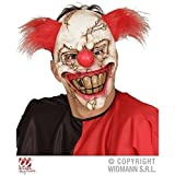 Lively Moments Einzigartige Killer Clownmaske / Halbmaske mit Haar & breitem Grinsen / Halloween / Kostümzubehör