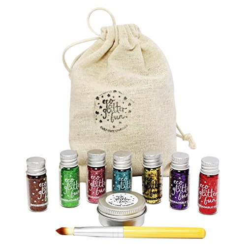 ECO GLITTER FUN - Kit de Paillettes Assorties Biodégradables Rainbow - Parfait pour le Maquillage du Visage, Corps et des Cheveux et pour Décorations de Bricolage - Avec Pinceau, Gel d'Aloe et Sac en Lin - 7 x 3.5 gr
