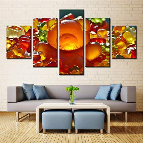 5 Panel Gummibärchen süße Bonbons bunte Marmelade Malerei Bild auf Leinwand Küche & Restaurant Dekor Landschaft Zimmergemalde-40x60/80100cm,with frame