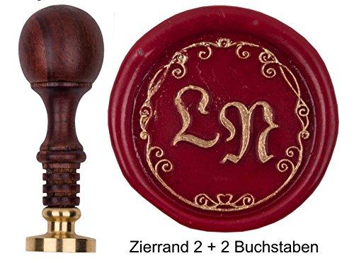 Siegel-Stempel Initialen 2 Buchstaben Moderne Fraktur + Zierrand 2, Teakholz
