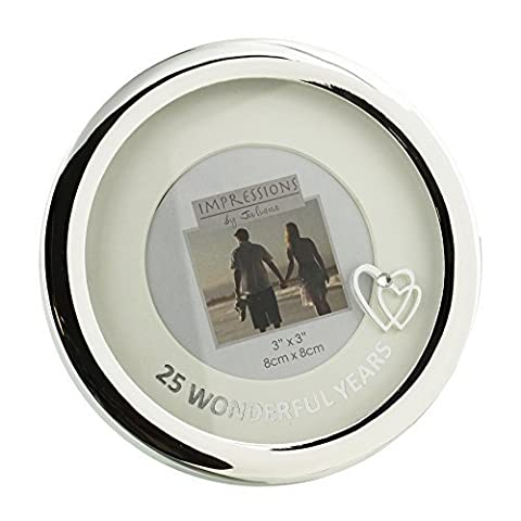 25th Silver Wedding Anniversary Round Silverplated Photo Frame with mount