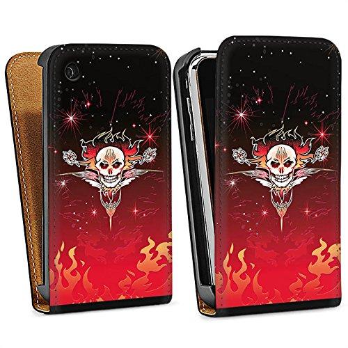 Apple iPhone 4 Housse Étui Silicone Coque Protection Tribal Crâne Crâne Sac Downflip noir