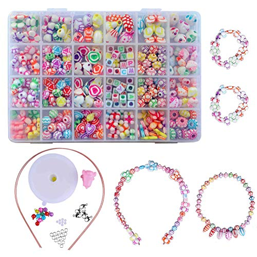 QH-Shop Kinder DIY Armband,DIY Perlenschmuck 24 Fächer Farbe Kunststoff Stringing Perlen in PVC Box zum Basteln von Schmuck Ketten Armbändern 400 Pieces