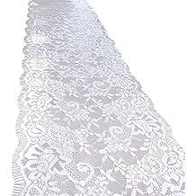 Amosfun Encaje Vintage Mantel de Encaje Bordado superposición para la decoración de la Boda decoración del