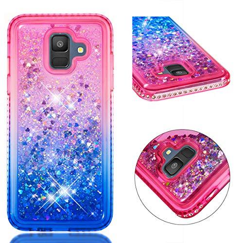 HMTECH Galaxy A6 2018 Hülle Glitzer Gradient Rosa Blau Herz Flüssigkeit Fließende Liquid Weiche Silikon Durchsichtige Schale Bumper Etui für Galaxy A6 2018,Pink Blue Liquid