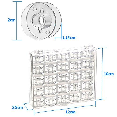 Witasm Caja con 25 Canillas Vacías para Máquina de Coser Bobinas de Hilo Estandar 11,5 mm con Cortahilos y Cinta