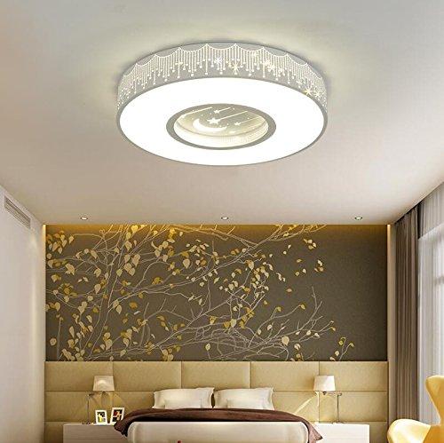 GZLIGHT Moderne Deckenleuchte Hängeleuchte Kinderzimmer Warm und romantisch die Sterne und den Mond Led energiesparende Lampen Weiß 24W dimmbar mit Fernbedienung 40 cm (Bad-wärme-lampen)