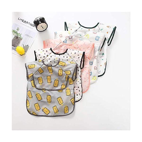 WPPKED Niños impermeable bib sin esposa impermeable con capucha bebé manga cortaimpermeable ropa de comida impermeable M… 2