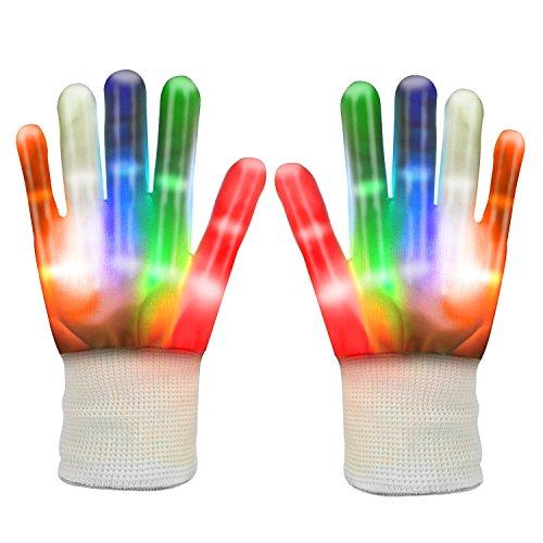 Halloween Disco Für Kostüme (LEMEGO LED Handschuhe- Blinkende Bunte Finger Gloves Mit Beleuchtung Lüstige Party Disco Halloween Karneval Kostüme Handschuhe für Kinder Damen Herren)