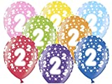 Libetui 10 kunterbunte Luftballons Metallic 30cm Deko Zum 2. Geburtstag Party Kindergeburtstag Happy Birthday Dekoration (Zahl 2)