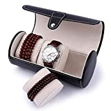 Amzdeal Watch Roll Case 3 Slots Watch Box Jewellery Organizer Box Leather Watch Roll for Men and Women