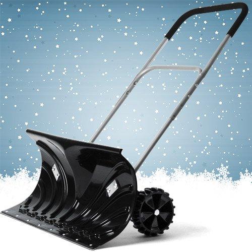 Schneeschieber Schneeräumer mit Rädern, höhenverstellbar, schwenkbar, Schneeschaufel zerteilbar - 2