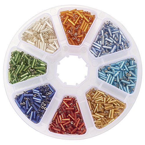 pandahall-elite-1-small-box-8-mixed-colors-silver-lined-glass-bugle-beads-for-jewelry-making-6x18mm-