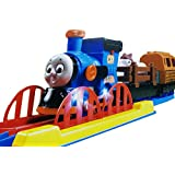 Emob Cartoon Character Realistic Musical And Flashing Light Train Track Set Toy With Animal And Log Carrier
