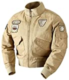 Klassischer Herren Air Force Flight Pilot Bekleidung Jacke Mantel Fashion Bomber Tops Baumwolle Oberbekleidung Windbreaker (Color : Khaki, Size : L)