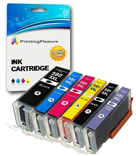 6 Compatibili PGI-580/CLI-581 XXL Cartucce d'inchiostro per Canon Pixma TS8150 TS8151 TS8152 TS9150 TS9155 | PGI-580PGBK CLI-581BK CLI-581C CLI-581M CLI-581Y CLI-581PB XXL