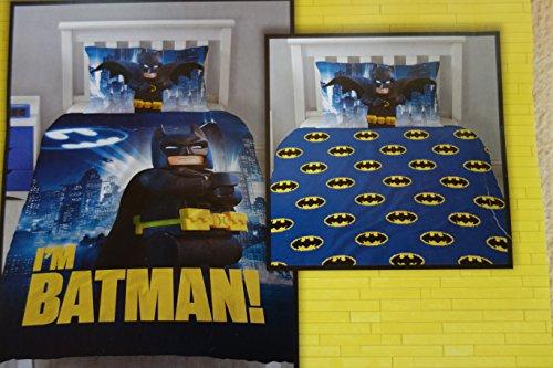 Lego Batman Bettwäsche, 1 x Kissenbezug 80 x 80 cm und 1 x Bettbezug 135 x 200 cm, 100 % Baumwolle mit Reißverschluss (Lego Batman Bettwäsche)