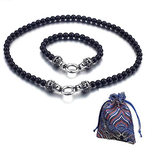 WLXW 316 Edelstahl-Armband Und Halskette Kombination, Vintage-Punk-Stil Schädel Buddha Perlenkette, Männer und Frauen Mode, Personalisierte Dekoration