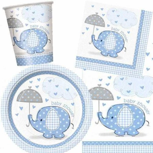 Umbrellaphants Blue Baby Shower Party Pack by Helium