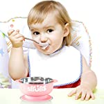 Baby Suction Bowl with Secure Lid Perfect for Weaning, Stainless Steel Feeding Bowls for Babies & Toddlers Keeps Food…