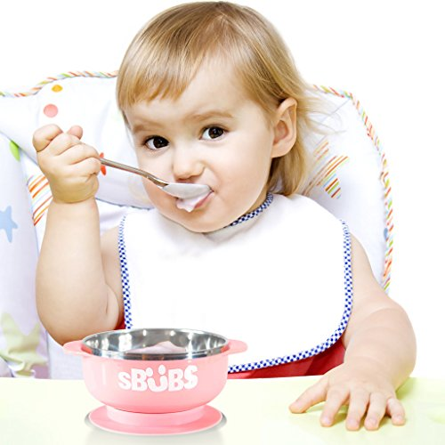 Suction bowl, quality baby bowls with a lid ,easy weaning and feeding for toddlers, stainless steel for keeping food warm, bpa free 51fAtDujyUL