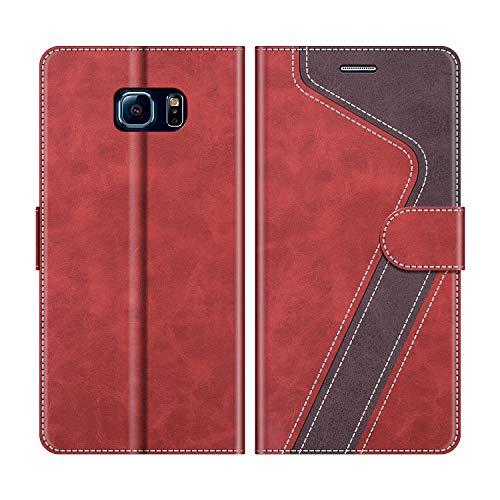 MOBESV Samsung Galaxy S6 Edge Hülle Leder, Galaxy S6 Edge Tasche Lederhülle Wallet Case Ledertasche Handyhülle Schutzhülle für Samsung Galaxy S6 Edge, Modisch Rot