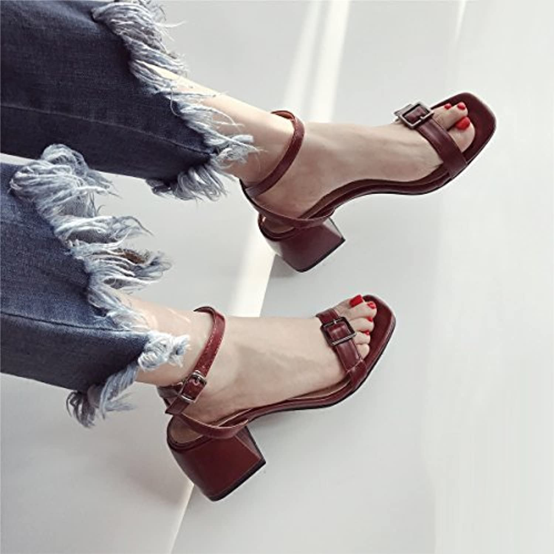 SHOESHAOGE Fine Belt Buckle One Word Transverse Belt Sandals Summer Temperament Fashion Buckle Belt Coarse Heelö
