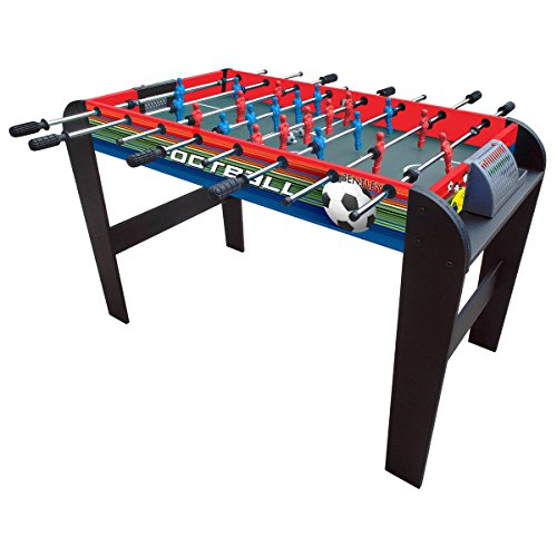 Charles Bentley Football Table Game Soccer Foosball Gaming Table with Leg Levellers Soft Grip Handles - 4Ft