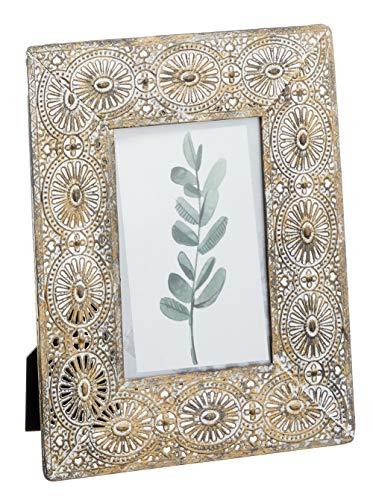 Cepewa Bilderrahmen Gold Silber Metall Mandala Fotorahmen Kupferstyle Shabby Vintage für 10 x 15 oder 13 x 18 cm Fotos (10 x 15)