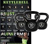 Kettlebell Kugelhantel Set inkl. Workout Kunststoff 4 kg 6 kg