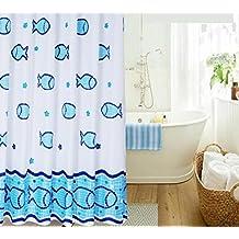 DU&HL Dibujos animados ducha cortina mar vida peces patrón verde azulado y blanco Color Anti - moho y resistente al agua , 180*180