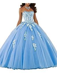 XUYUDITA Mujeres Lace piso de longitud vestido de baile Quinceanera vestido vestido de fiesta Tul