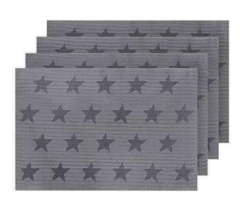 Deconovo Tischmatten Kunststoff Platzdeckchen Abwaschbar Tischsets Stern 30x45 cm Grau Weiß 4er Set