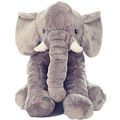 VLUNT Elefante Cojín Dormido Animales peluche de juguete blando elefante Juguete cojín para bebé, regalos para niños niñito (gris)