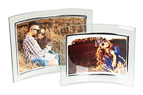 Levandeo set 2 cornici portafoto in vetro–cornice curva per 1foto da 13x 18cm l'una–elegante design in vetro