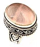 Indie Artisans natürlichen Rosenquarz-Ring 925 Silber überzogene Edelstein-Frauen-Ring-UK-Ring-Größe N / EU Ring-Größe 54