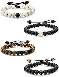 eb6d68ed841e Besteel 2-4pcs Pulsera de Perlas de Piedra para Hombres Mujeres Pulseras  relación Trenzada de