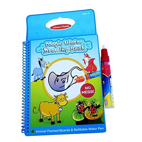 ua wiederverwendbare Zeichnung Buch mit , 1 Zauberstift, intime Coloring Book Malerei Wasserbehörde, frühkindliche pädagogische Spielwaren (Tierbuch) (Magic Coloring Book)