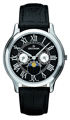 Grovana Unisex Quartz Watch with Black Dial Analogue Display and Black Leather Strap 1025.1537