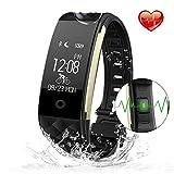 Heart Rate Monitor Fitness Tracker, S2 intelligente Herzfrequenz Armband Sport Fitness Tracker Sleep Quality Monitor Anruf/notify IP67 wasserdichte Erinnerung für IOS 7.0, Android 4.3 über System (Schwarz)