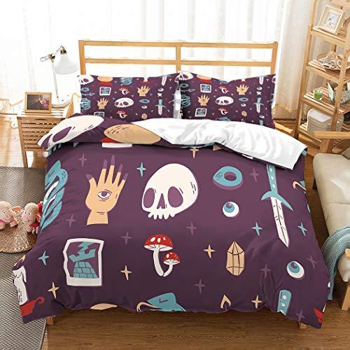 MOUMOUHOME Kinder Hippie Bettwäsche Set 3D Böhmen Schädel Hände Pilze Rot/Lila/Blau Sternen Hintergrund Lila Bettbezug Set,Keine Bettdecke,3 Stück mit 1 Bettbezug 2 Kissenbezug -