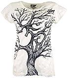Guru-Shop Sure T-Shirt Om Tree, Damen, Weiß, Baumwolle, Size:S (36), Bedrucktes Shirt Alternative Bekleidung