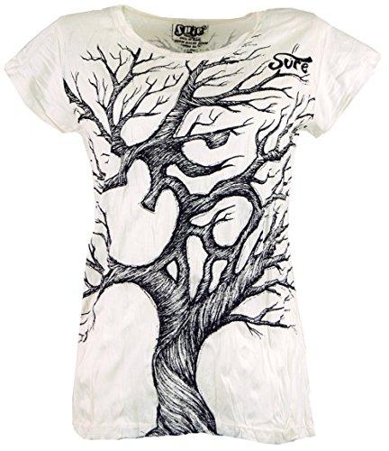 Guru-Shop Sure T-Shirt Om Tree, Damen, Weiß, Baumwolle, Size:L (40), Bedrucktes Shirt Alternative Bekleidung - Damen Shop